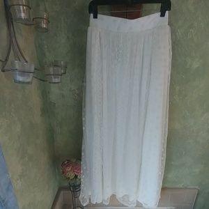 Beautiful polka dot mesh and lace maxi skirt